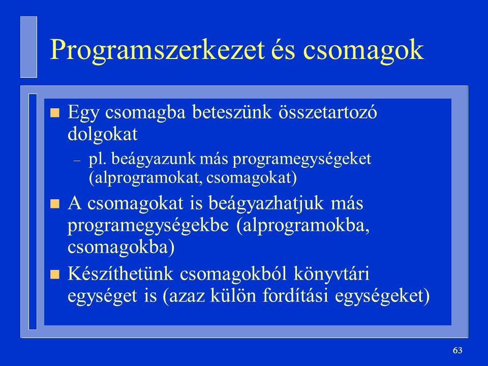 Programszerkezet és csomagok