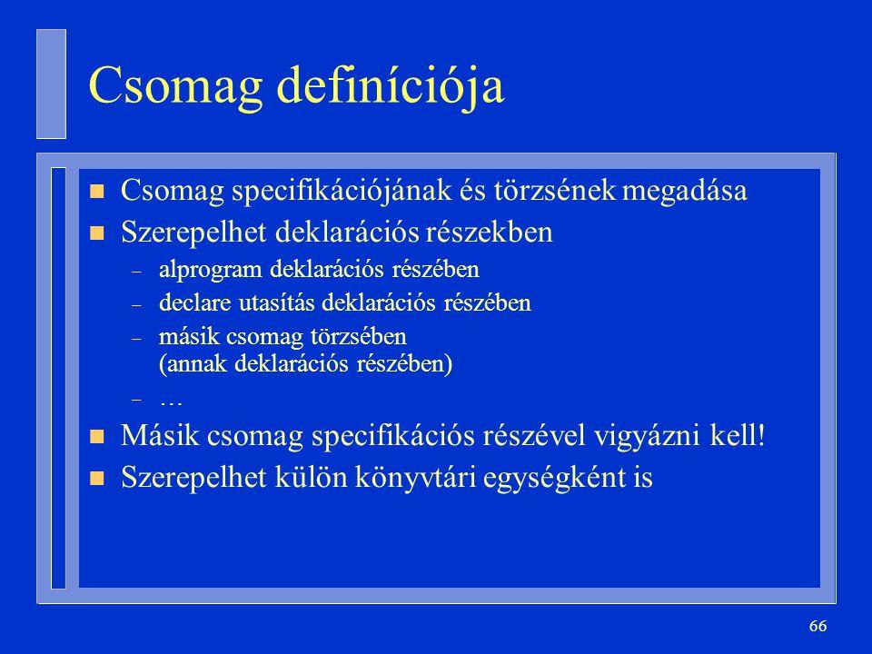 Csomag definíciója Csomag specifikációjának és törzsének megadása