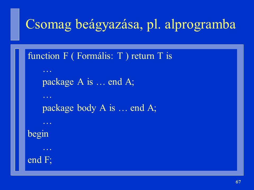 Csomag beágyazása, pl. alprogramba