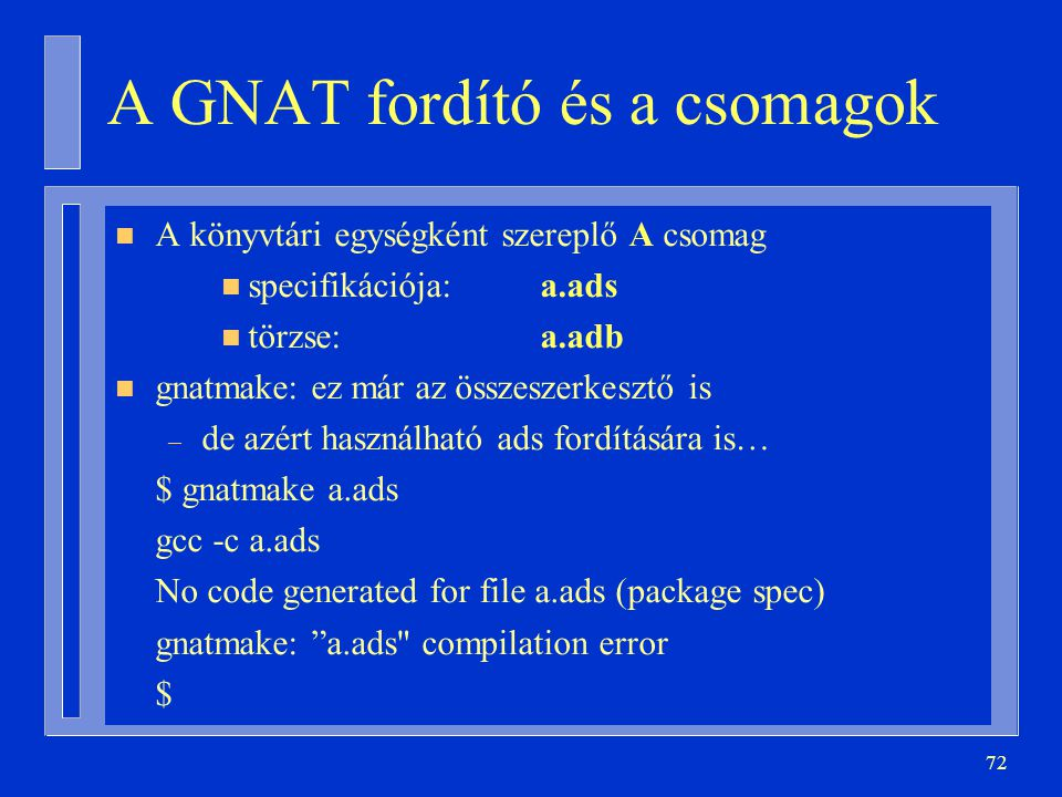 A GNAT fordító és a csomagok