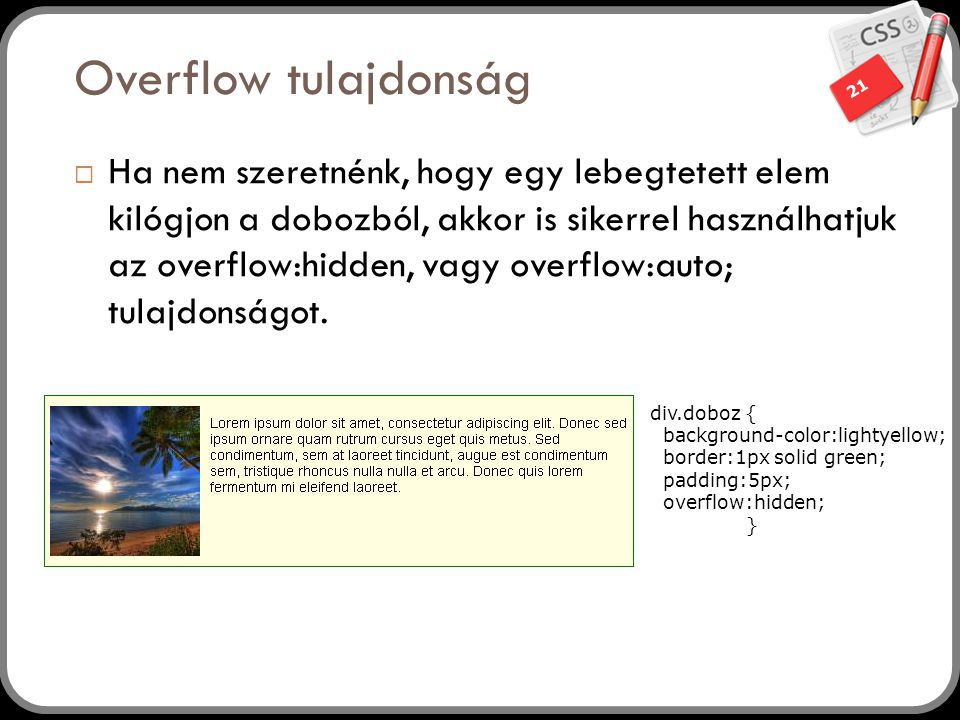 Overflow tulajdonság