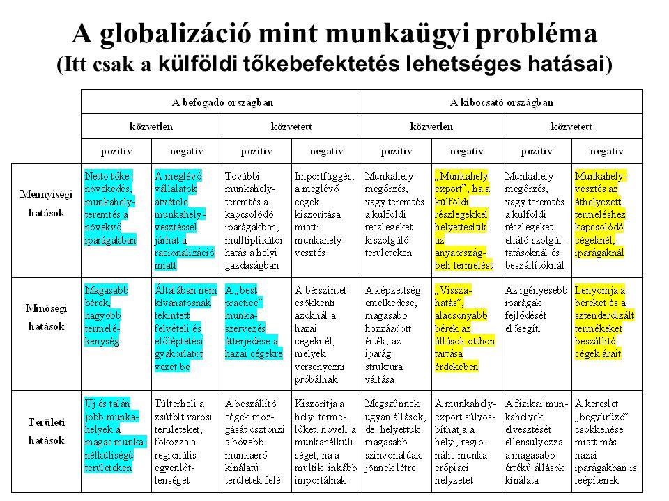 A globalizáció mint munkaügyi probléma (Itt csak a külföldi tőkebefektetés lehetséges hatásai)