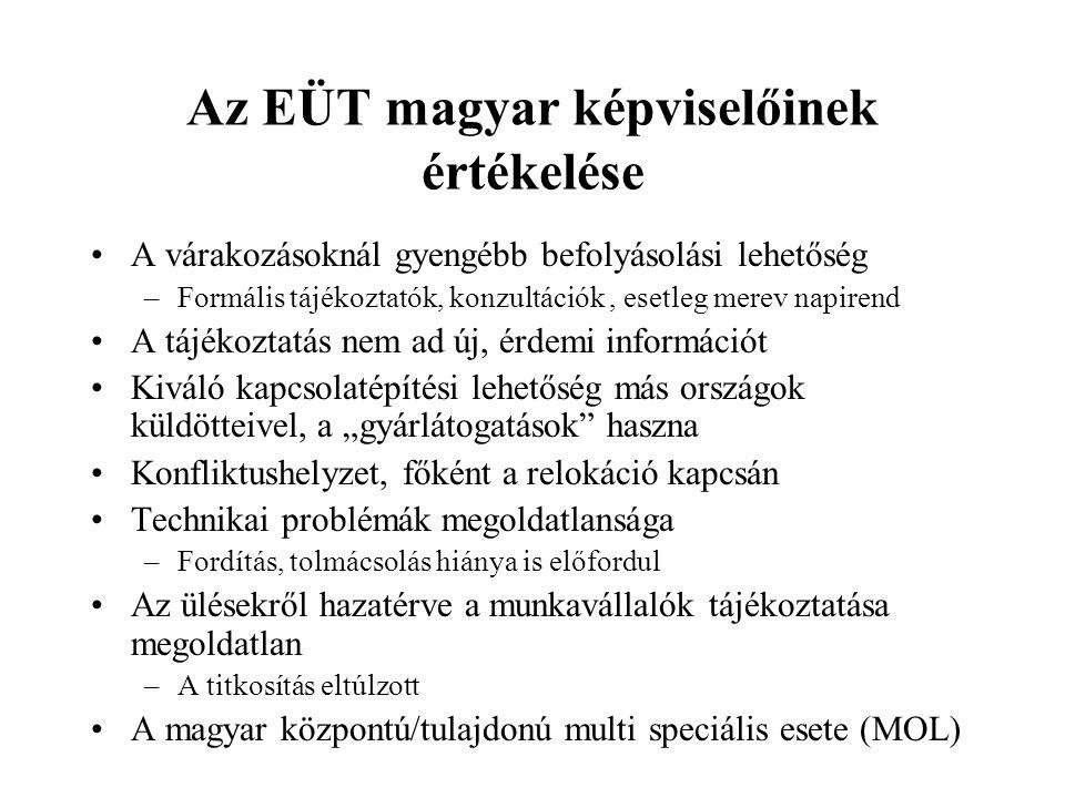 Az EÜT magyar képviselőinek értékelése