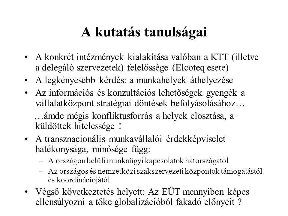 A kutatás tanulságai A konkrét intézmények kialakítása valóban a KTT (illetve a delegáló szervezetek) felelőssége (Elcoteq esete)