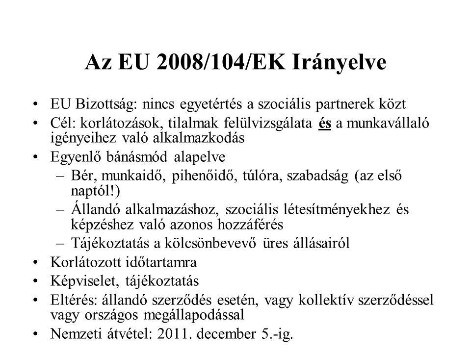 Az EU 2008/104/EK Irányelve EU Bizottság: nincs egyetértés a szociális partnerek közt.