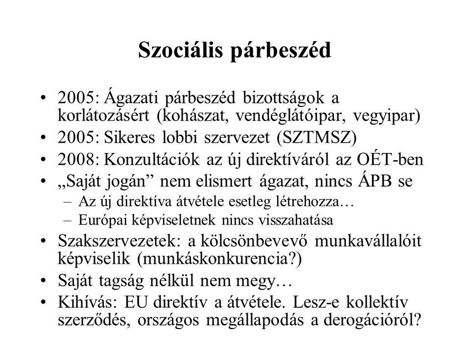 Szociális párbeszéd 2005: Ágazati párbeszéd bizottságok a korlátozásért (kohászat, vendéglátóipar, vegyipar)