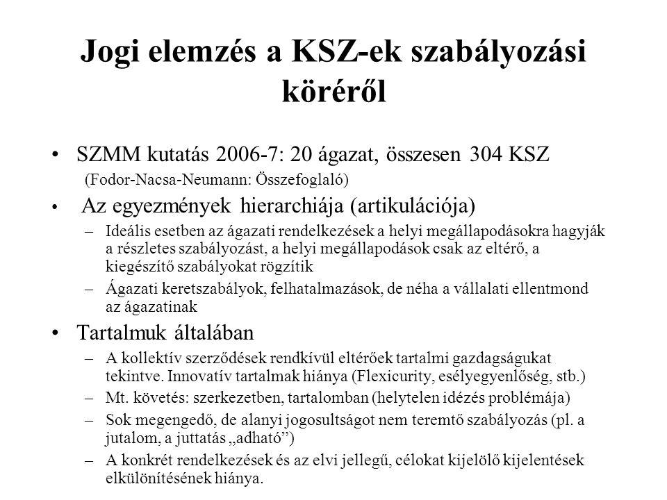 Jogi elemzés a KSZ-ek szabályozási köréről
