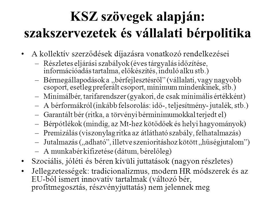 KSZ szövegek alapján: szakszervezetek és vállalati bérpolitika