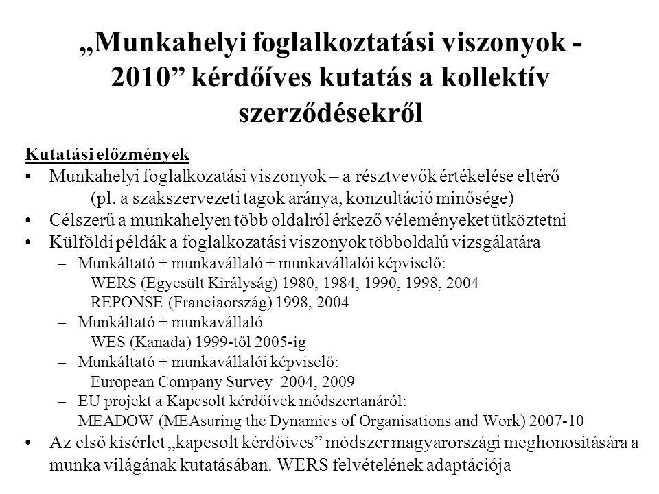 """""""Munkahelyi foglalkoztatási viszonyok - 2010 kérdőíves kutatás a kollektív szerződésekről"""