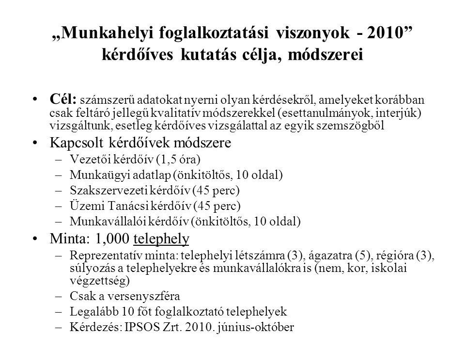 """""""Munkahelyi foglalkoztatási viszonyok - 2010 kérdőíves kutatás célja, módszerei"""