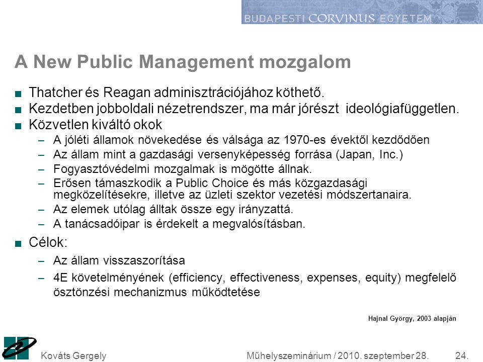 A New Public Management mozgalom