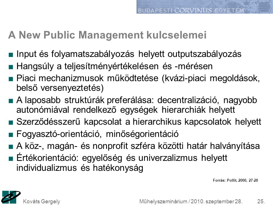 A New Public Management kulcselemei