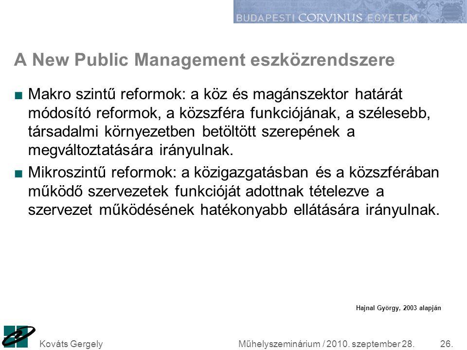 A New Public Management eszközrendszere