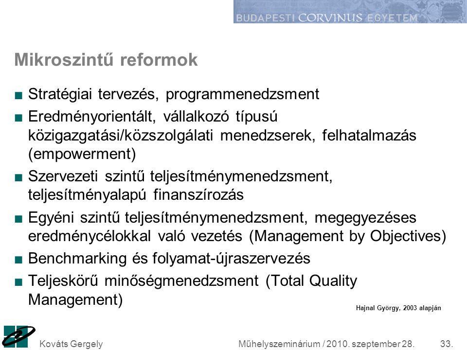 Mikroszintű reformok Stratégiai tervezés, programmenedzsment