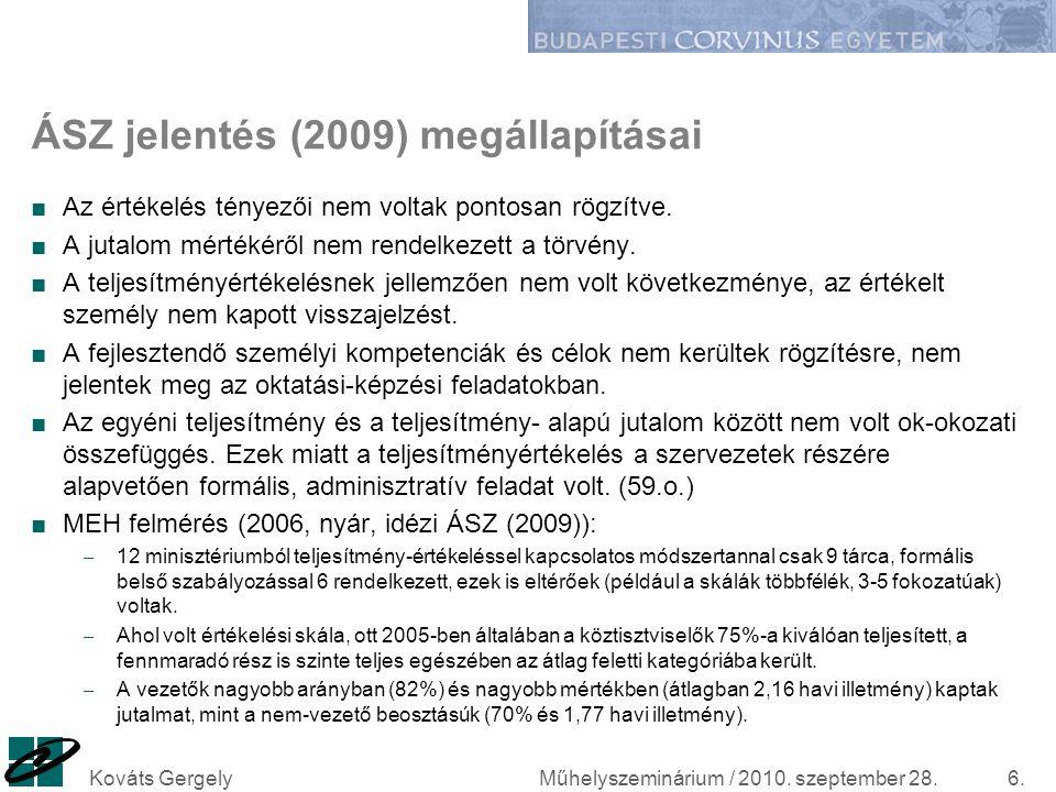 ÁSZ jelentés (2009) megállapításai