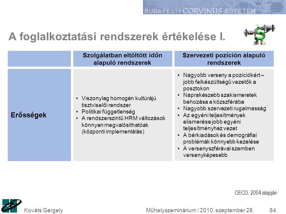 A foglalkoztatási rendszerek értékelése I.