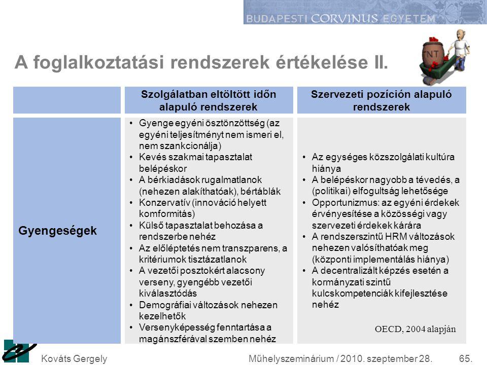 A foglalkoztatási rendszerek értékelése II.