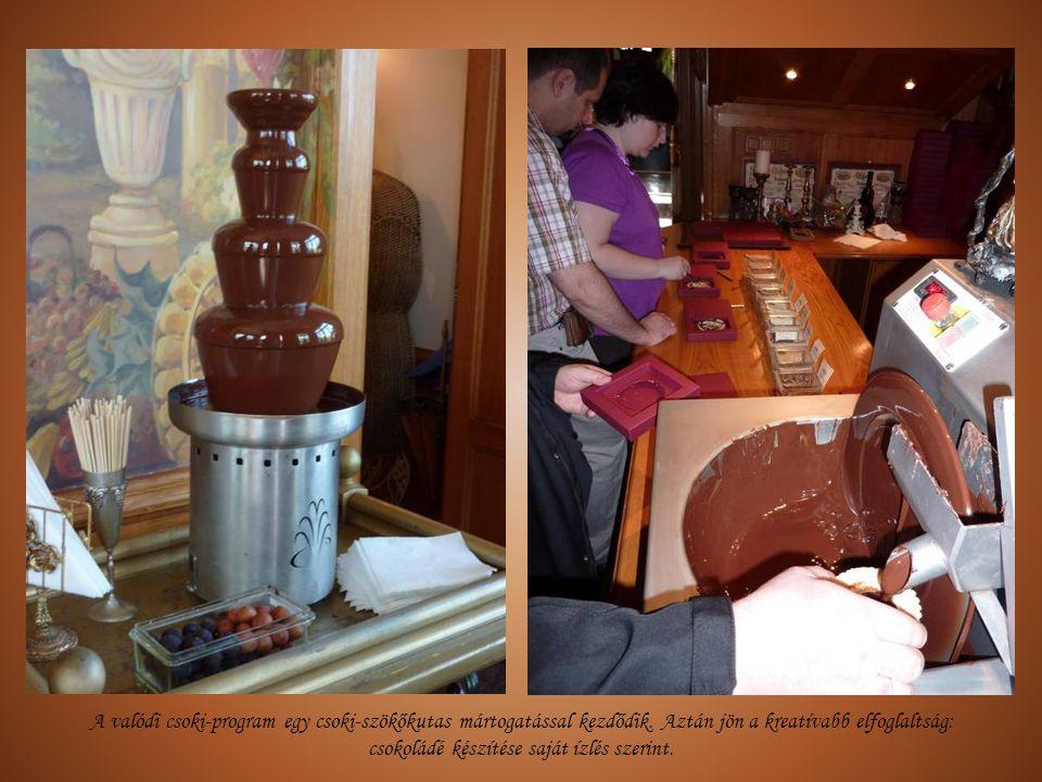A valódi csoki-program egy csoki-szökőkutas mártogatással kezdődik