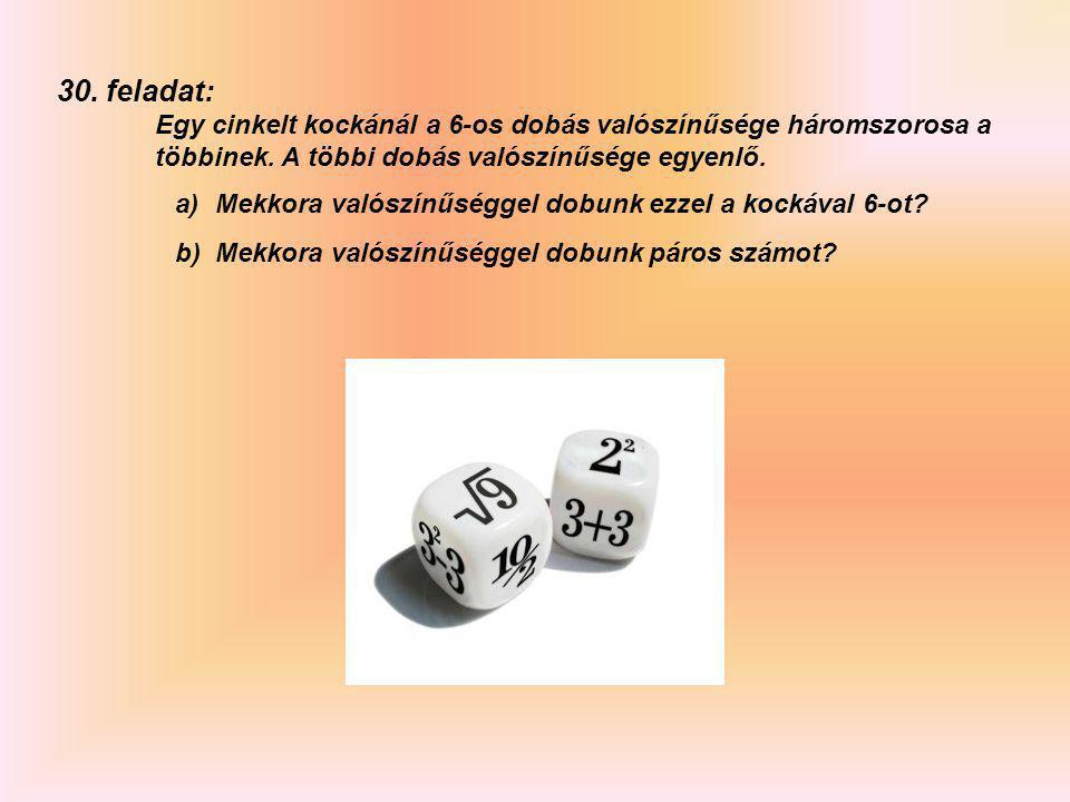 30. feladat: Egy cinkelt kockánál a 6-os dobás valószínűsége háromszorosa a többinek. A többi dobás valószínűsége egyenlő.