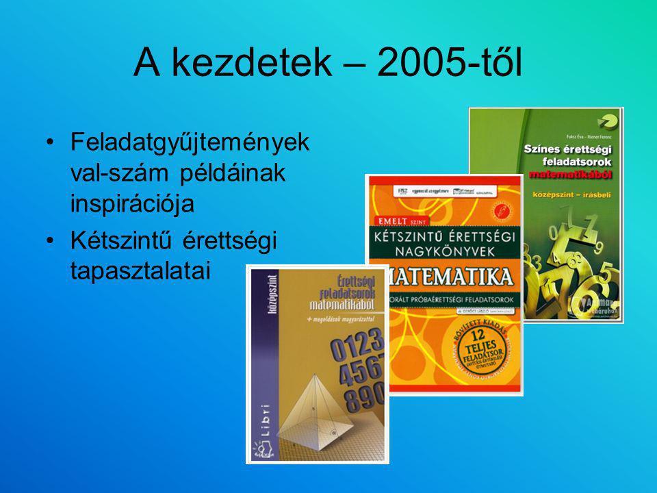 A kezdetek – 2005-től Feladatgyűjtemények val-szám példáinak inspirációja.