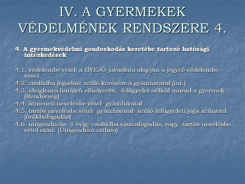 IV. A GYERMEKEK VÉDELMÉNEK RENDSZERE 4.