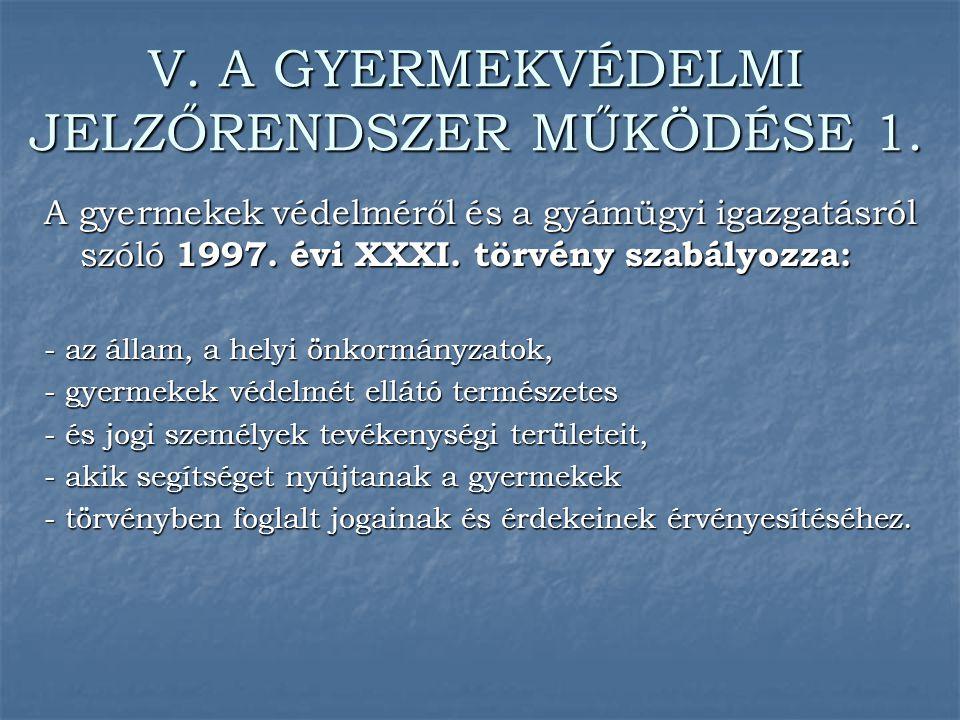 V. A GYERMEKVÉDELMI JELZŐRENDSZER MŰKÖDÉSE 1.
