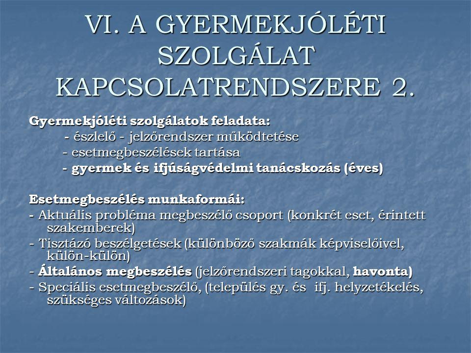 VI. A GYERMEKJÓLÉTI SZOLGÁLAT KAPCSOLATRENDSZERE 2.