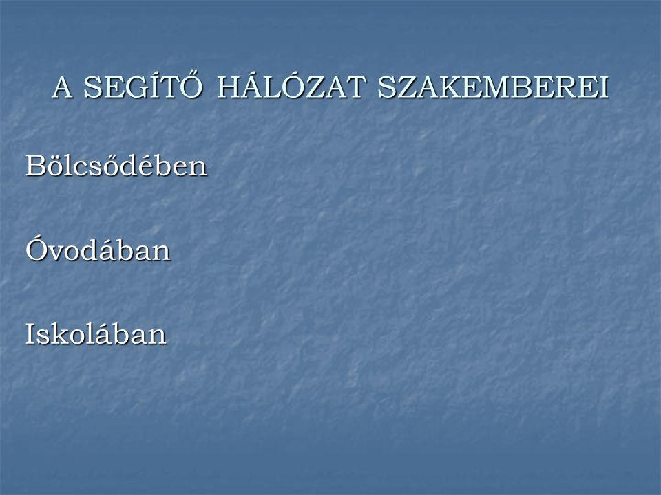 A SEGÍTŐ HÁLÓZAT SZAKEMBEREI