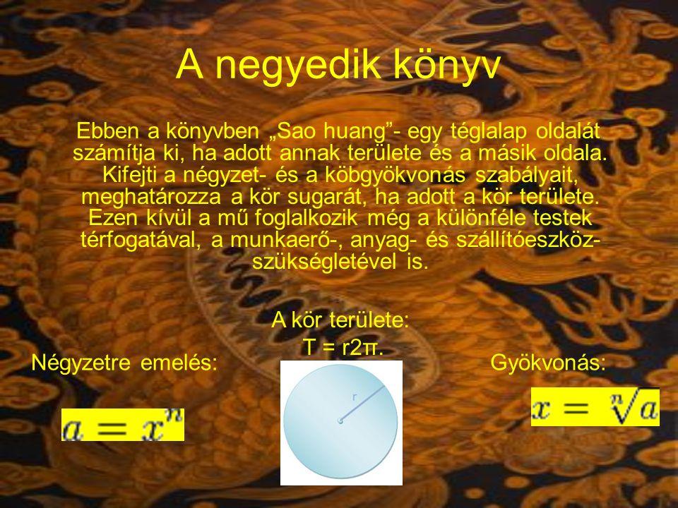 A negyedik könyv A kör területe: T = r2π. Négyzetre emelés: Gyökvonás: