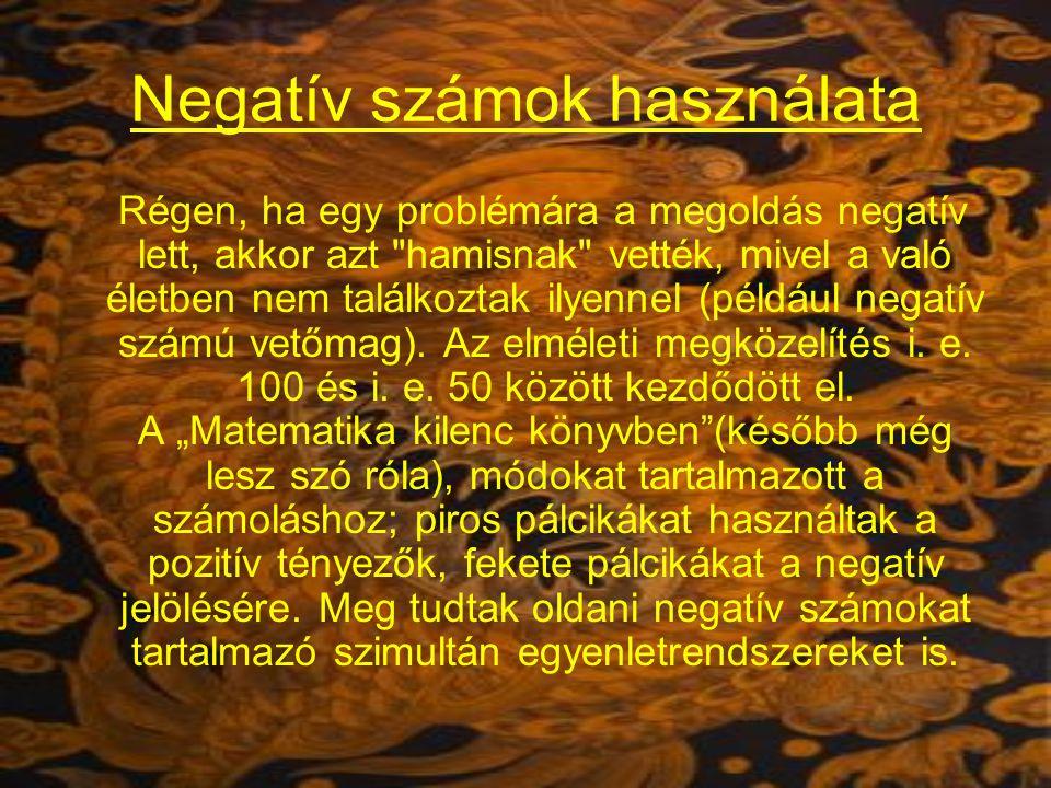 Negatív számok használata