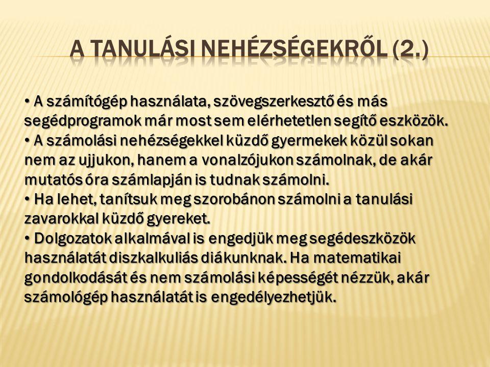 A Tanulási nehézségekről (2.)