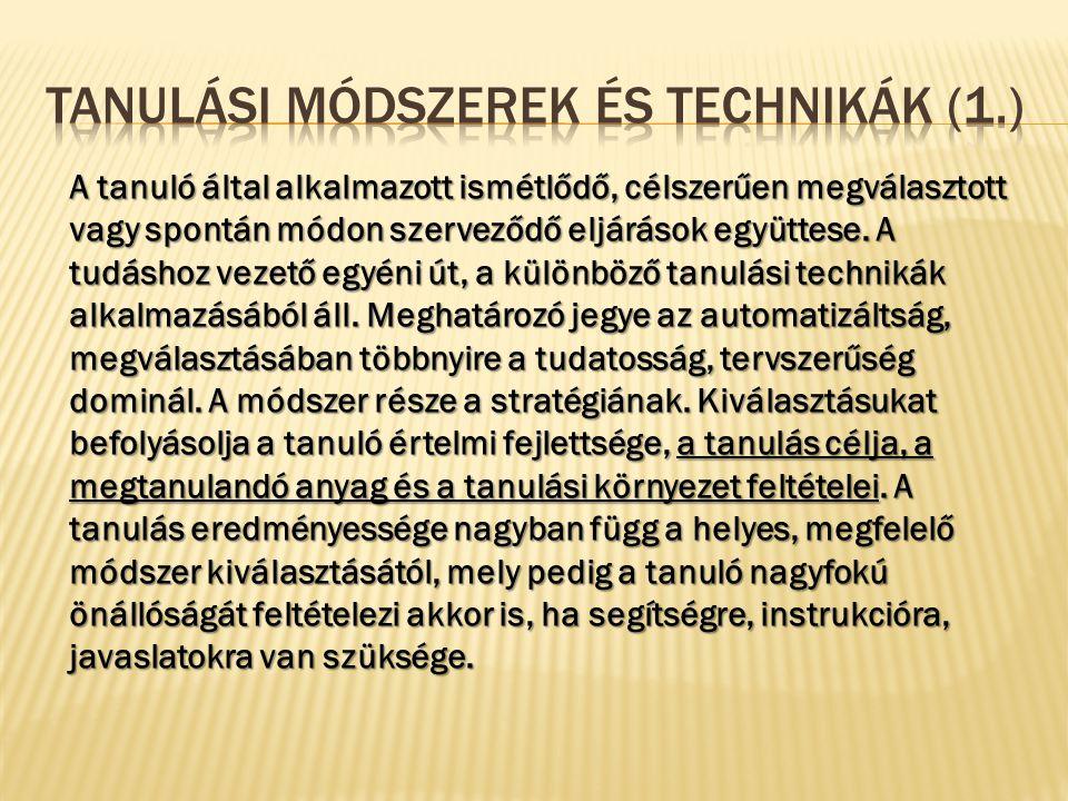 Tanulási módszerek és technikák (1.)