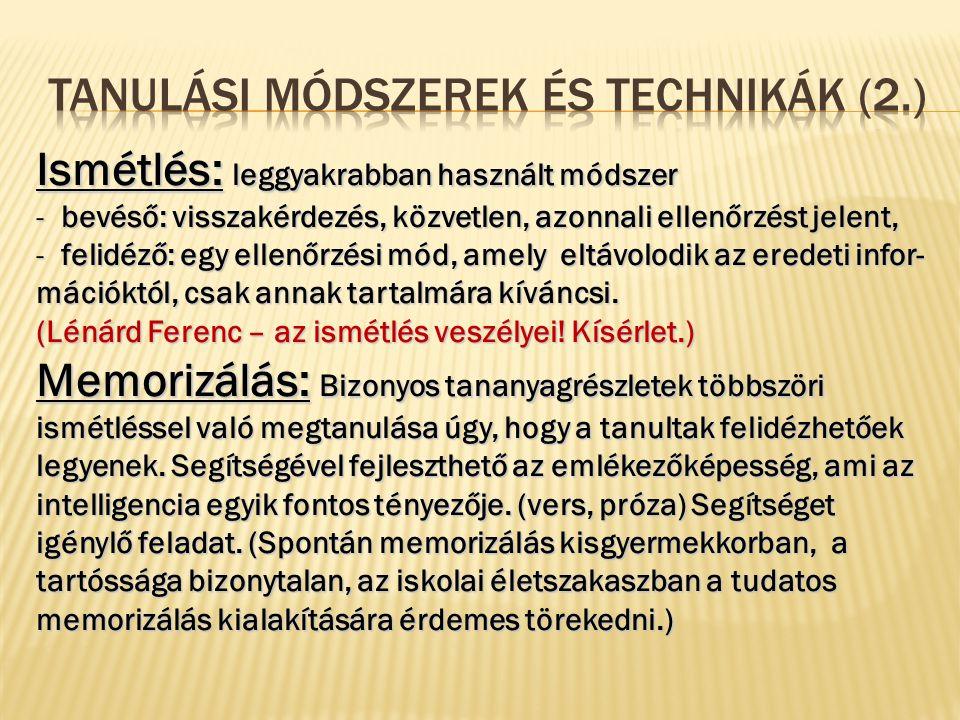 Tanulási módszerek és technikák (2.)