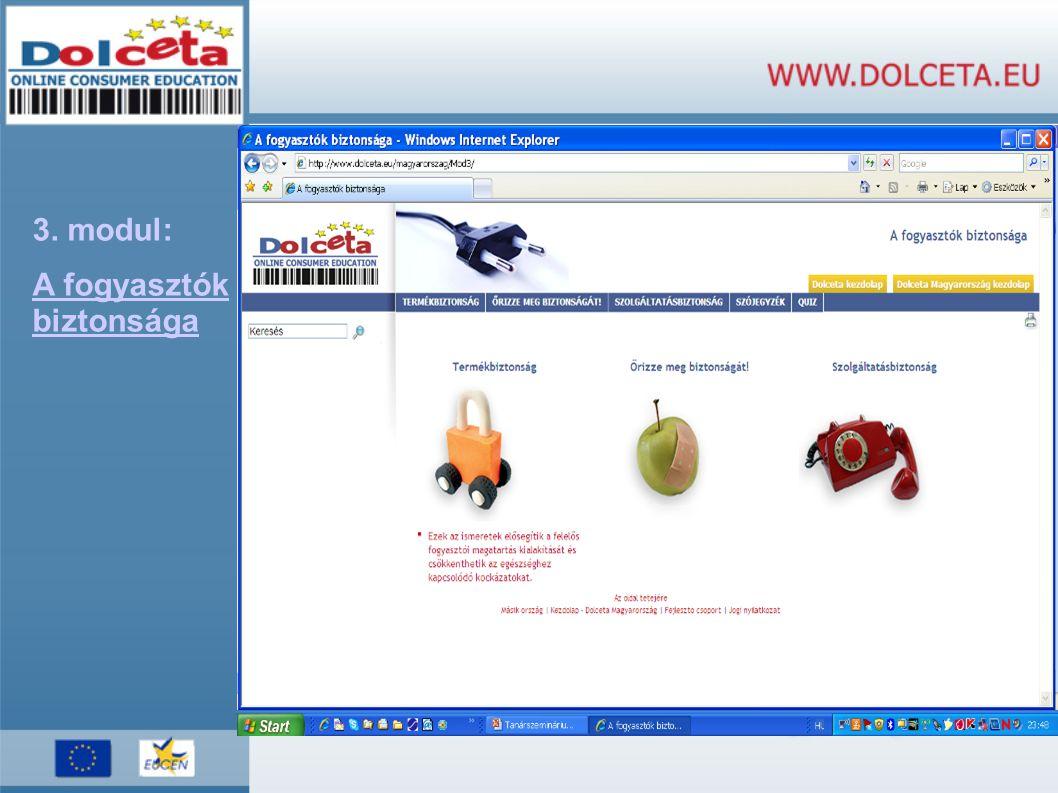 3. modul: A fogyasztók biztonsága