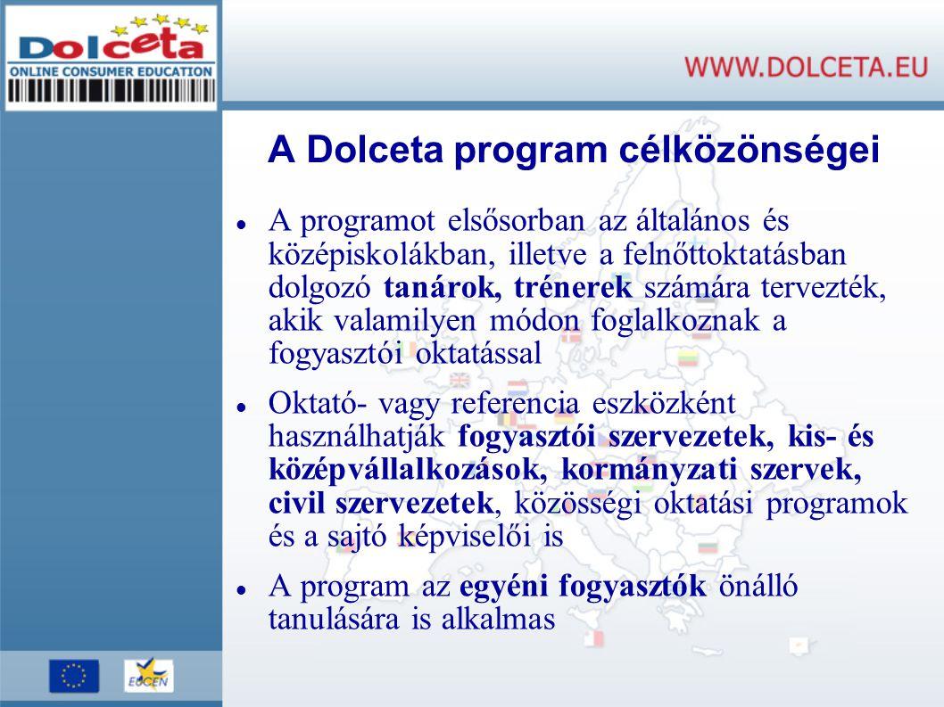 A Dolceta program célközönségei