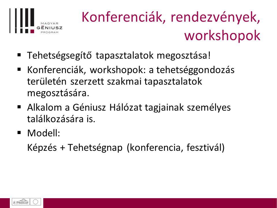Konferenciák, rendezvények, workshopok