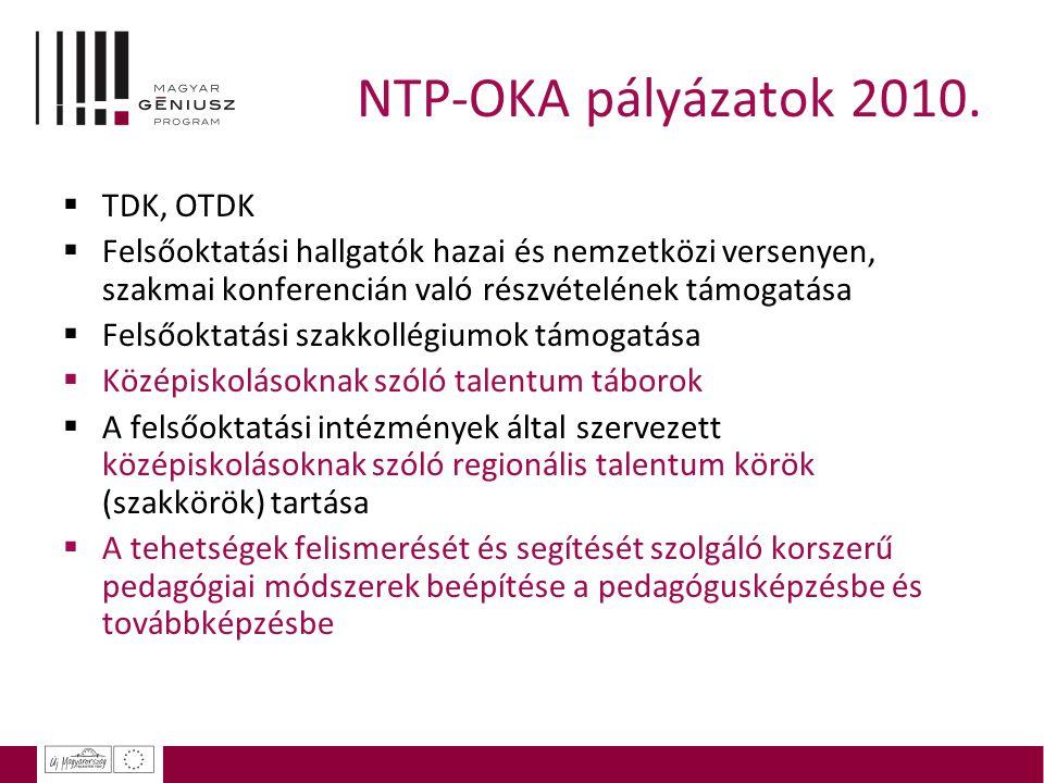 NTP-OKA pályázatok 2010. TDK, OTDK