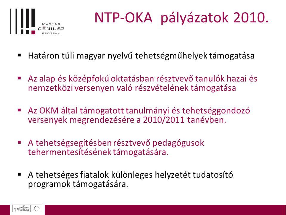 NTP-OKA pályázatok 2010. Határon túli magyar nyelvű tehetségműhelyek támogatása.