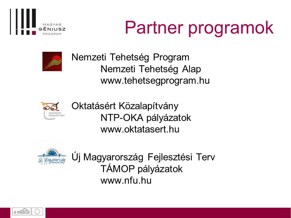 Partner programok Nemzeti Tehetség Program Nemzeti Tehetség Alap www.tehetsegprogram.hu.
