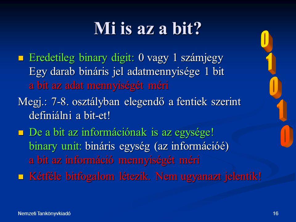 Mi is az a bit 1. Eredetileg binary digit: 0 vagy 1 számjegy Egy darab bináris jel adatmennyisége 1 bit a bit az adat mennyiségét méri.