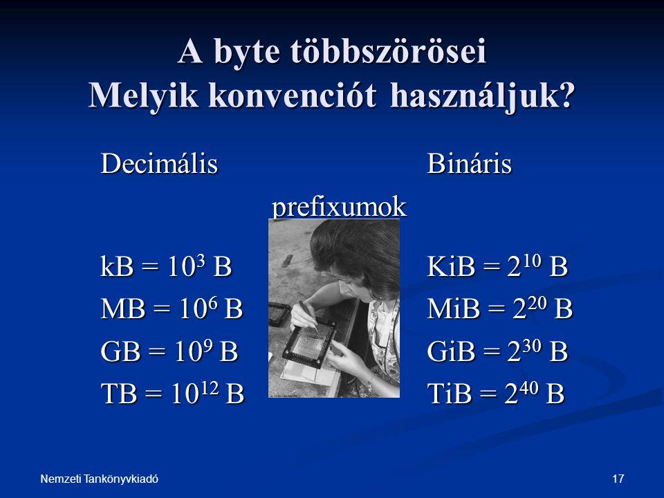 A byte többszörösei Melyik konvenciót használjuk