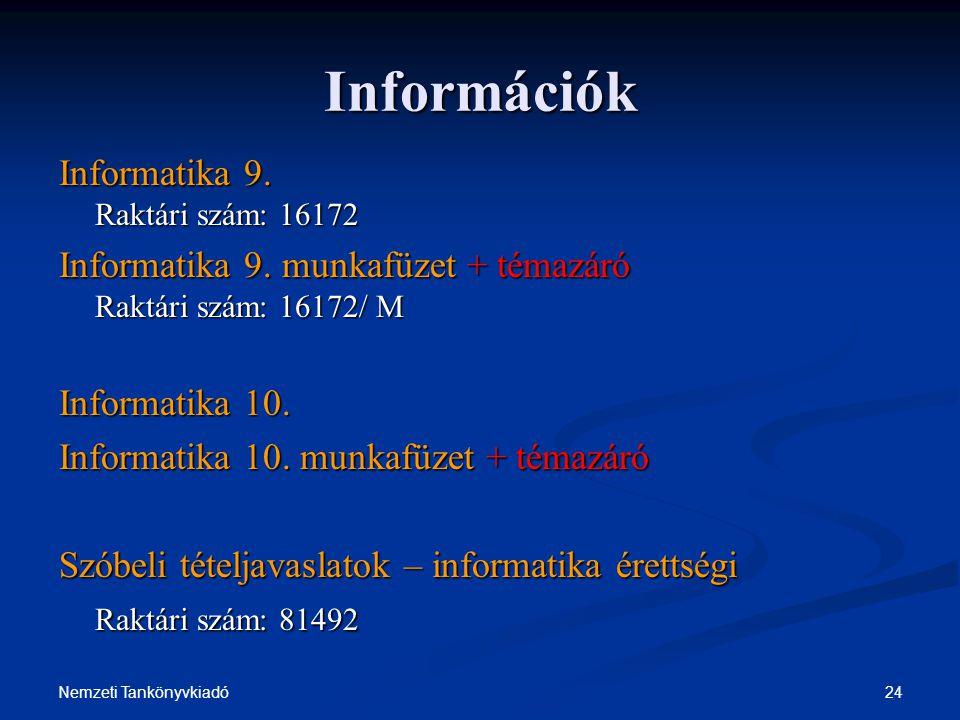 Információk Informatika 9. Raktári szám: 16172