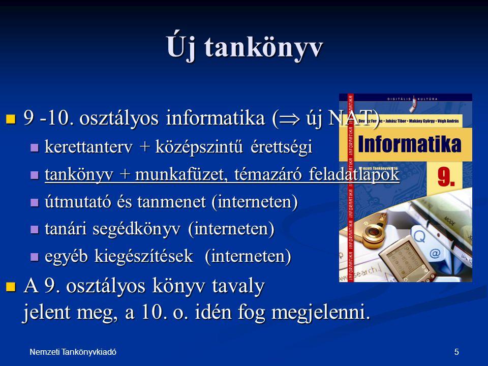 Új tankönyv 9 -10. osztályos informatika ( új NAT)
