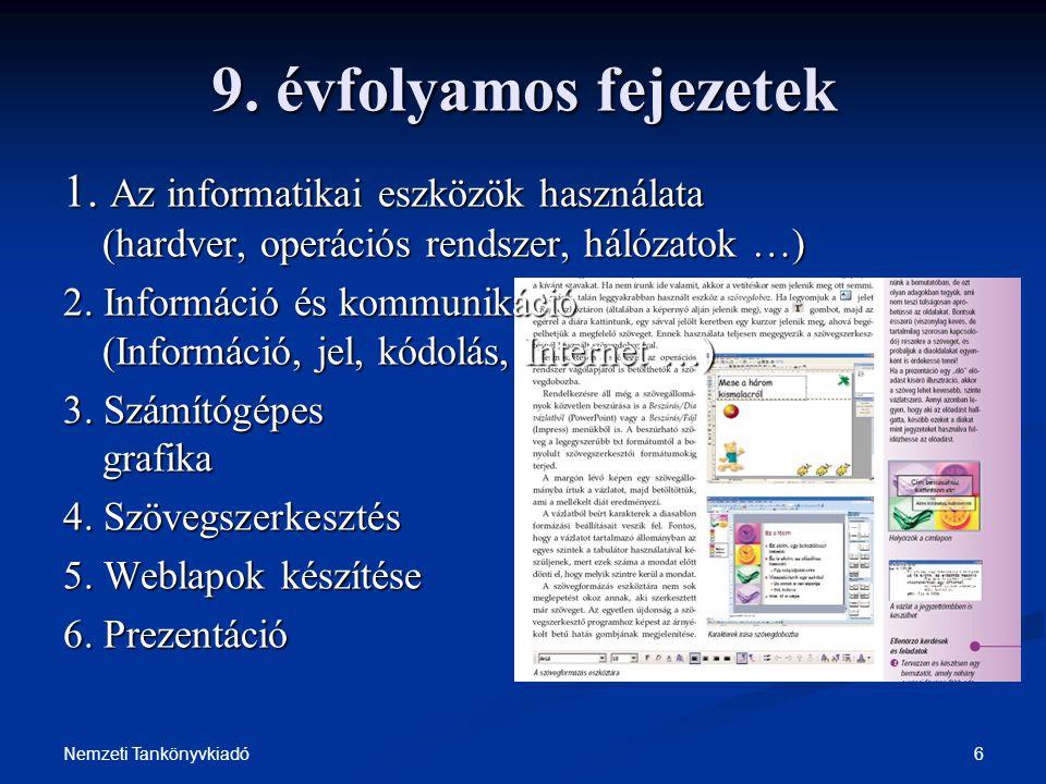9. évfolyamos fejezetek 1. Az informatikai eszközök használata (hardver, operációs rendszer, hálózatok …)
