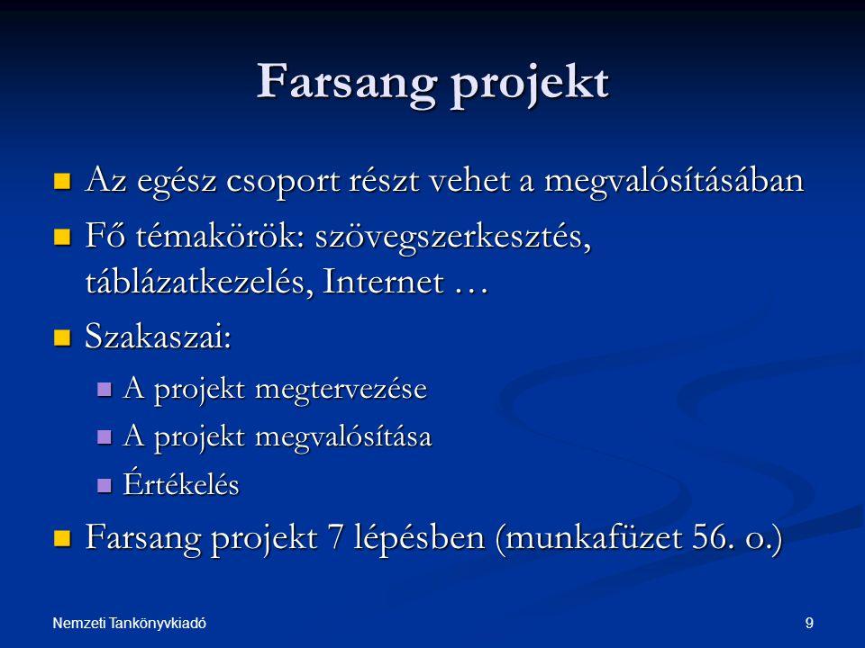 Farsang projekt Az egész csoport részt vehet a megvalósításában