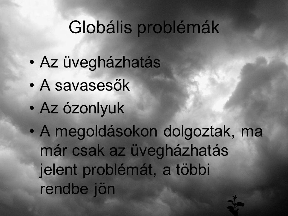 Globális problémák Az üvegházhatás A savasesők Az ózonlyuk