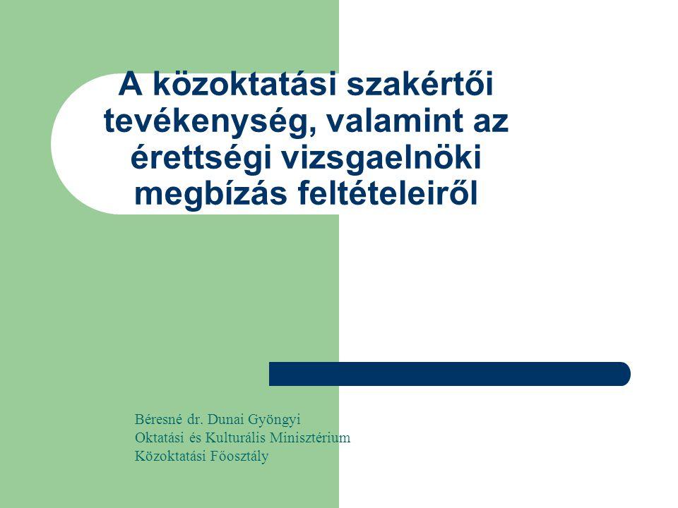 A közoktatási szakértői tevékenység, valamint az érettségi vizsgaelnöki megbízás feltételeiről