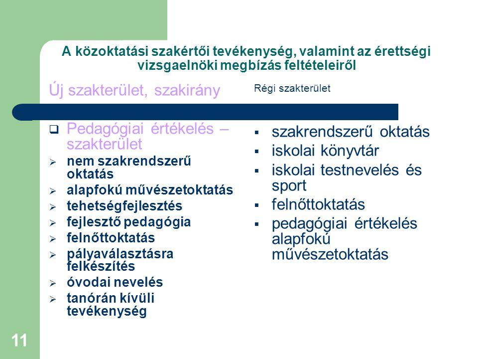 Új szakterület, szakirány Pedagógiai értékelés – szakterület