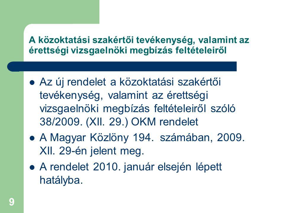 A Magyar Közlöny 194. számában, 2009. XII. 29-én jelent meg.