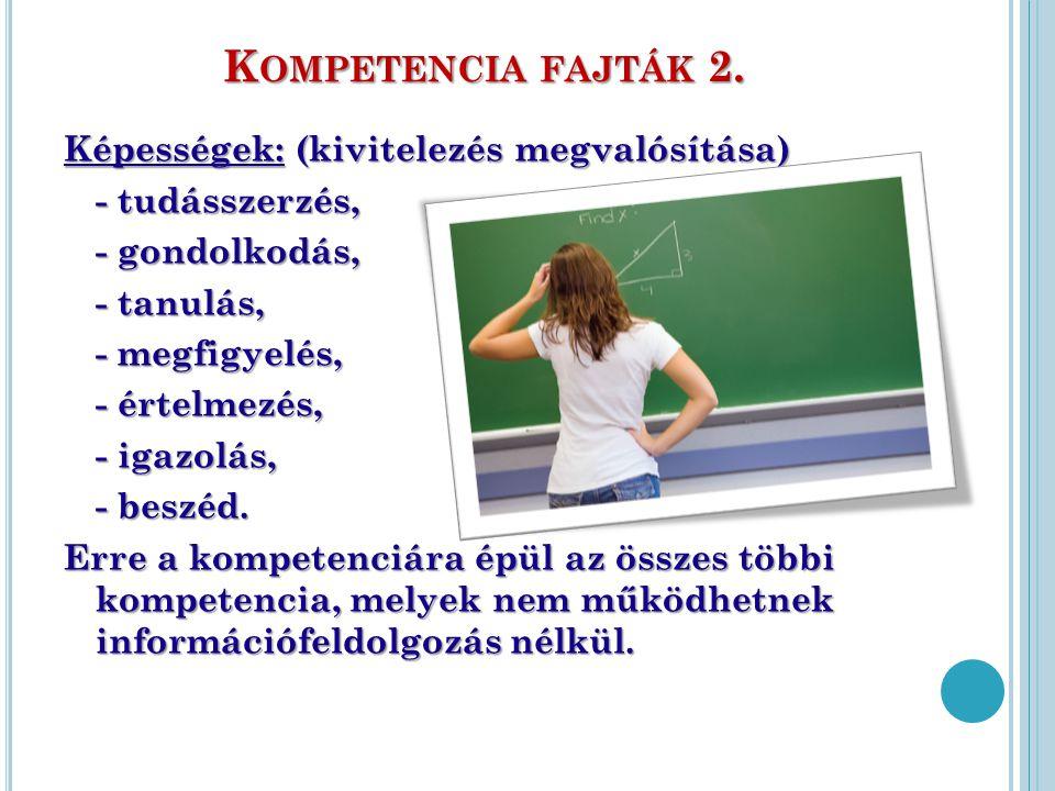 Kompetencia fajták 2. Képességek: (kivitelezés megvalósítása)